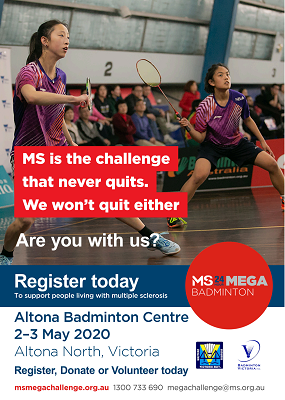 MS Mega Badminton - Register Today Poster