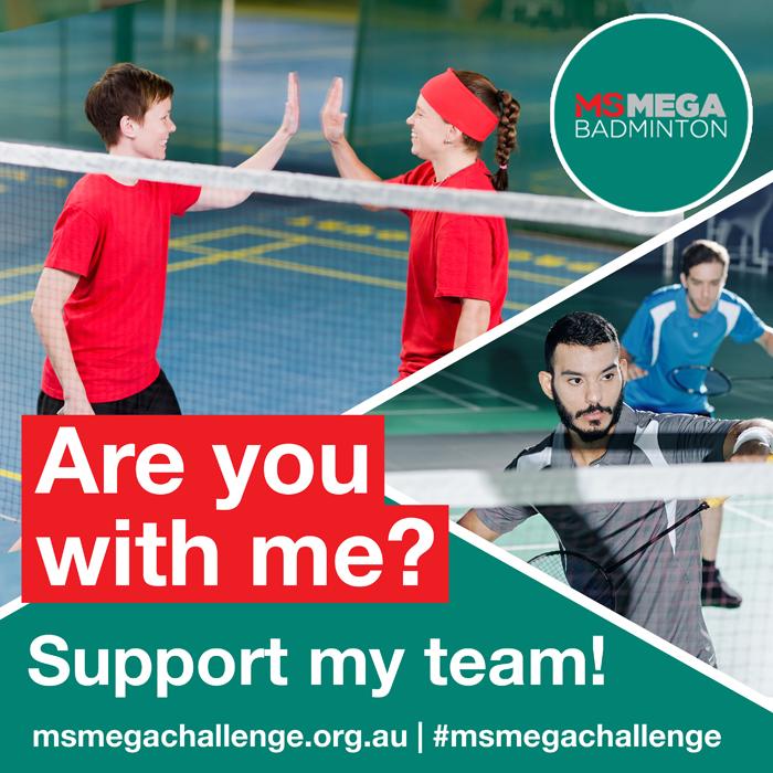 MS Mega Challenge - social tiles - Badminton - support my team