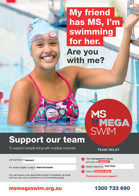 MS Mega Swim - Support Our Team Poster