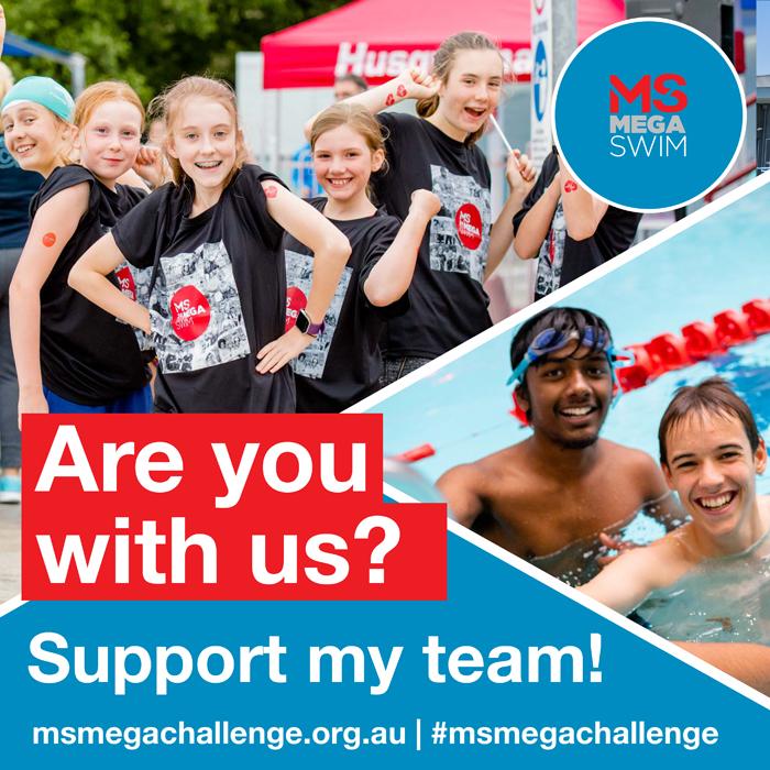 MS Mega Challenge - social tiles - swim - support my team